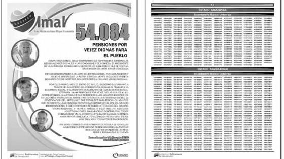 Nuevo listado de pensionados Misión Amor Mayor 9 de diciembre 2012
